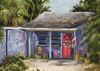 Olde Naples Cottage with Red Door by Laura Chelini